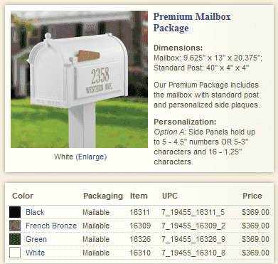 Premium Whitehall Mailbox Package