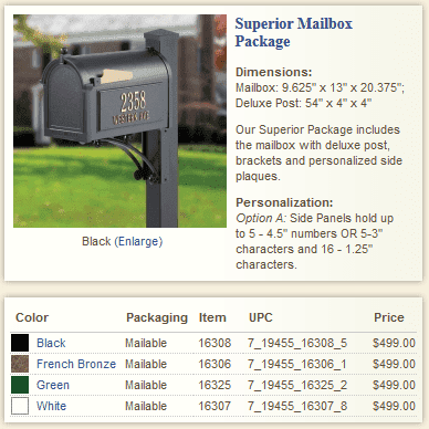 Superior Whitehall Mailbox Package