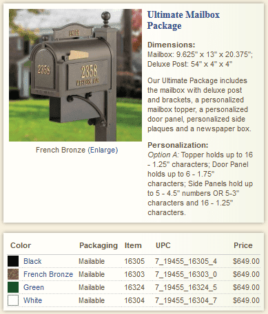 Ultimate Whitehall Mailbox Package